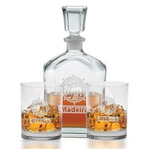 3 Piece Decanter Set - Etched
