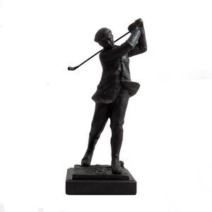 "Large Golfer Sculpture on Marble Base (14""x5 1/2""x5"")"