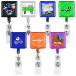 Square Shaped Retractable Badge Holder (Direct Import - 10 Weeks Ocean)