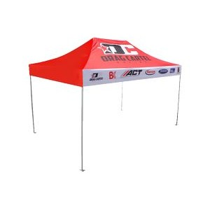 10'x15' V3 Premium Aluminum Tent Frame with Front Peak & Valance Printed Top